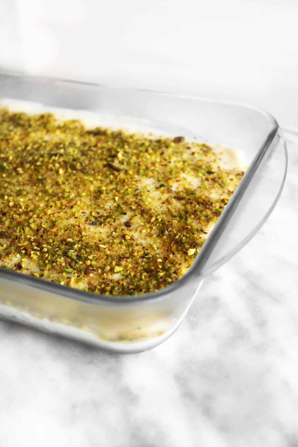 Aish el saraya in a pyrex glass dish
