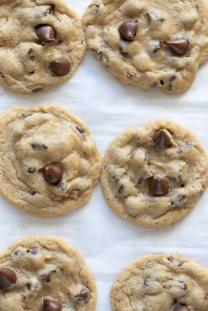 close up view of Ghirardelli freezer chocolate chip cookies