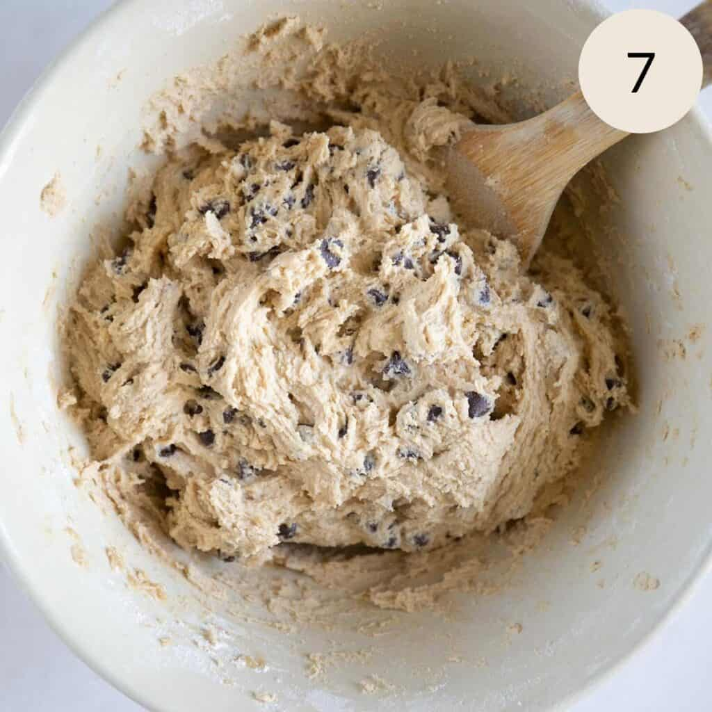 mixed chocolate chip cookie dough batter