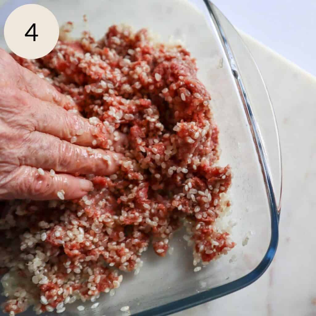mix the meat mixture very well with your hands