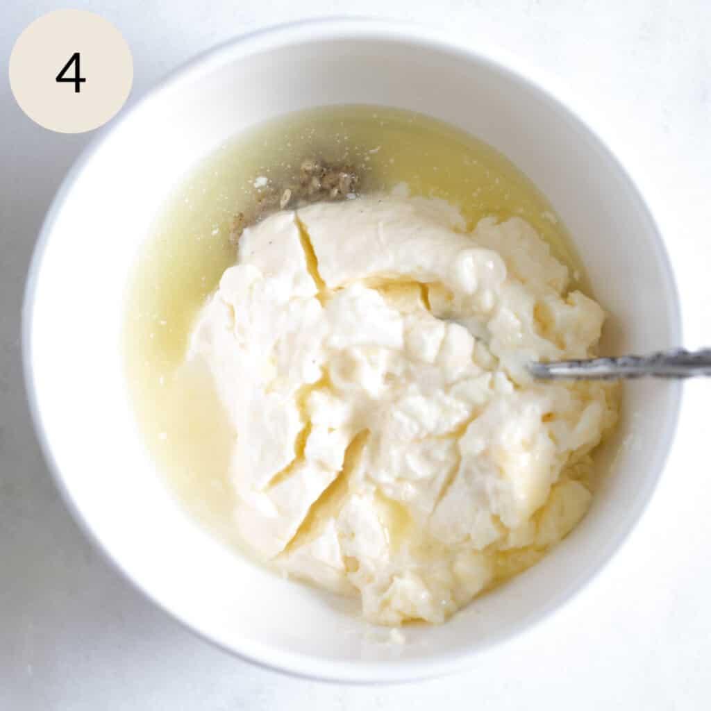 mix the mayonnaise, lemon juice, and mashed garlic