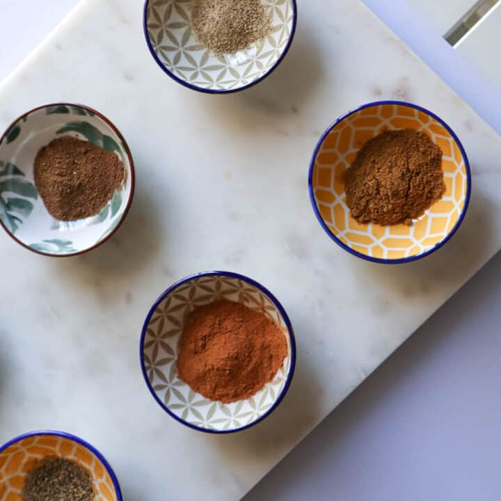 ground spices in dishes