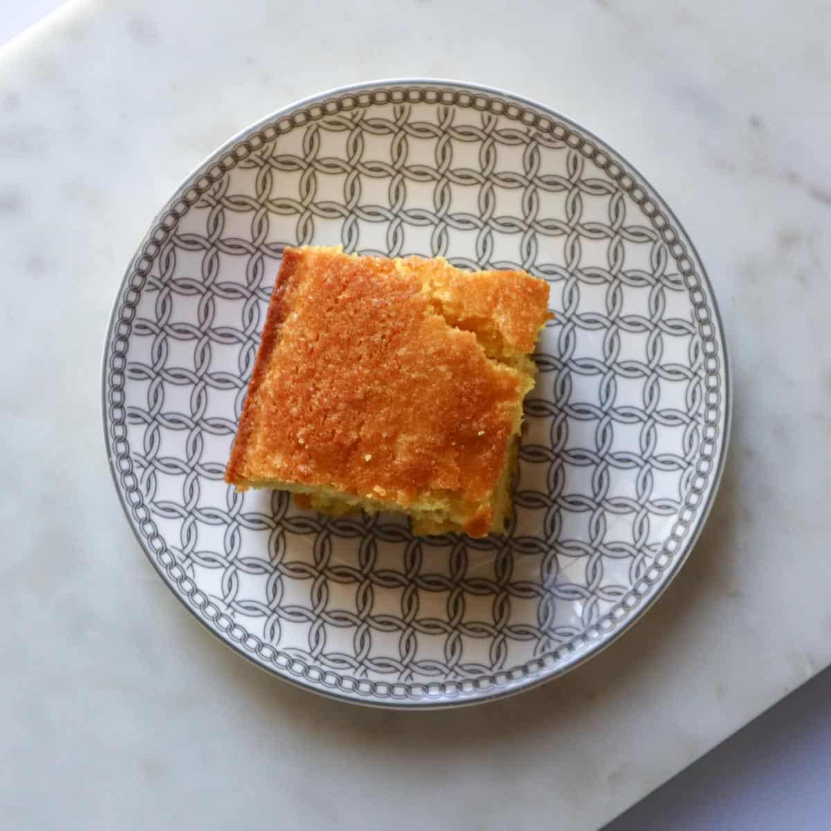 sfouf piece of turmeric cake on a plate