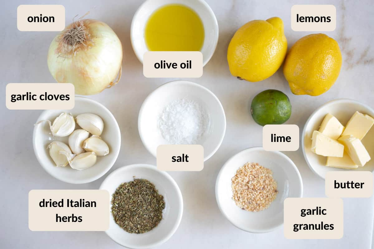 ingredients needed to make steelhead trout with lime garlic butter