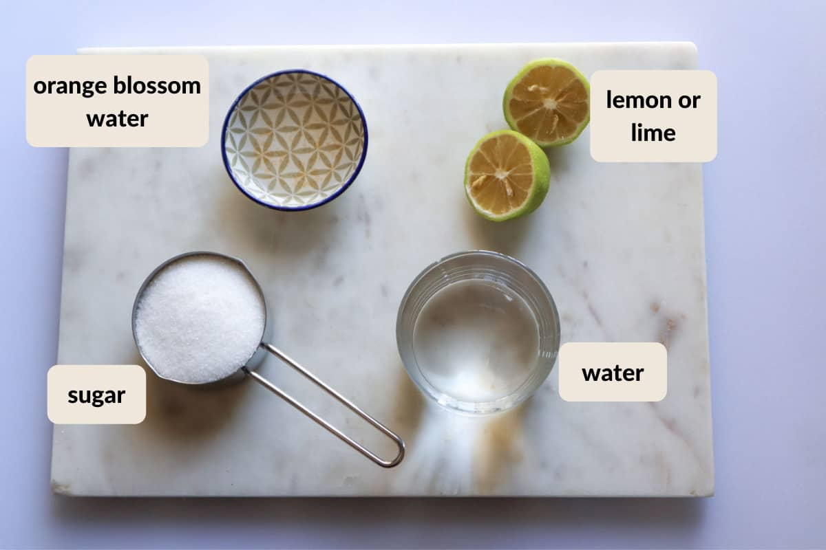 ingredients to make orange blossom simple syrup