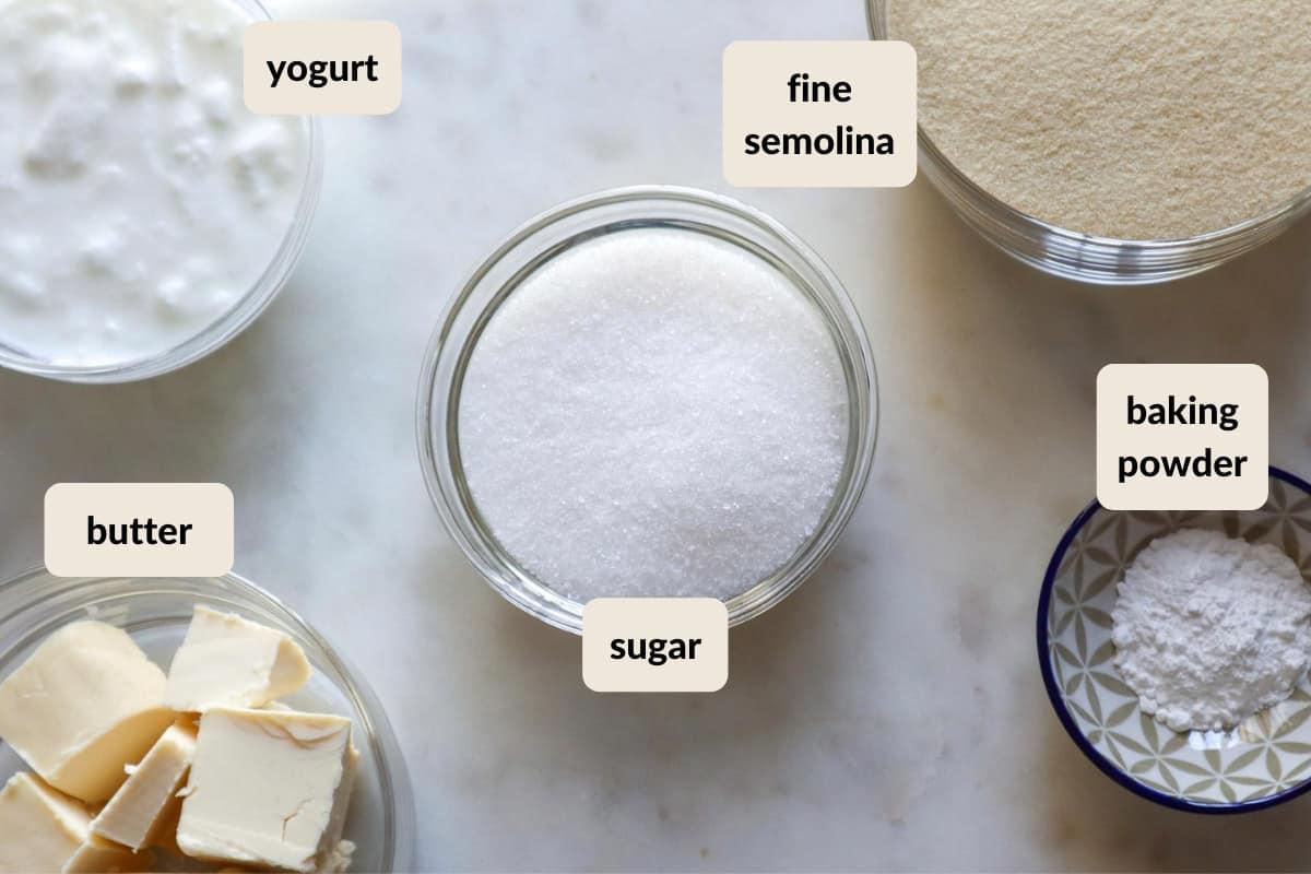 ingredients for the semolina cake